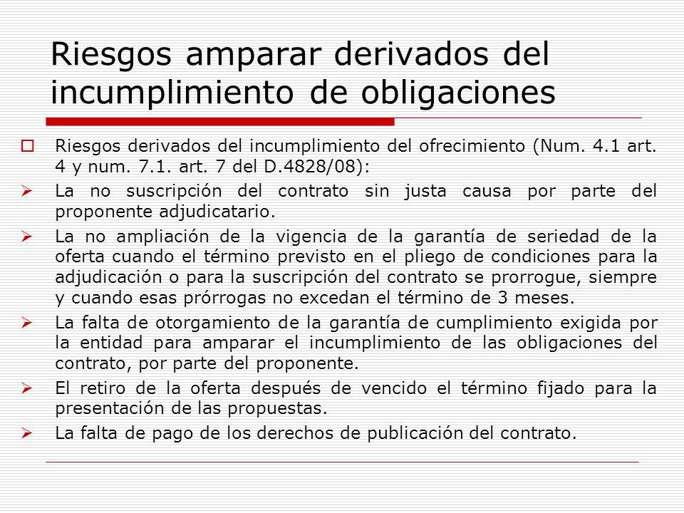 Riesgos amparar derivados del incumplimiento de obligaciones Riesgos derivados del incumplimiento del ofrecimiento (Num. 4.1 art. 4 y num. 7.1. art. 7