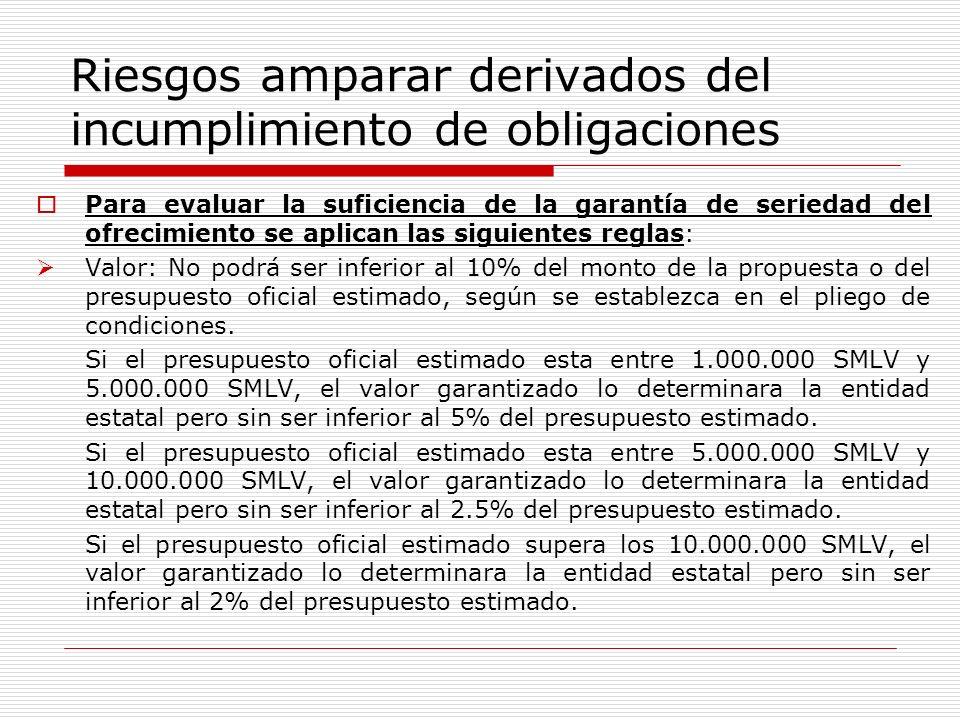 Riesgos amparar derivados del incumplimiento de obligaciones Para evaluar la suficiencia de la garantía de seriedad del ofrecimiento se aplican las si