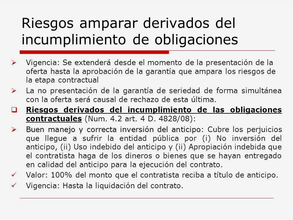 Riesgos amparar derivados del incumplimiento de obligaciones Vigencia: Se extenderá desde el momento de la presentación de la oferta hasta la aprobaci