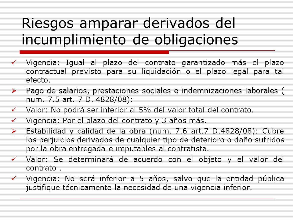 Riesgos amparar derivados del incumplimiento de obligaciones Vigencia: Igual al plazo del contrato garantizado más el plazo contractual previsto para