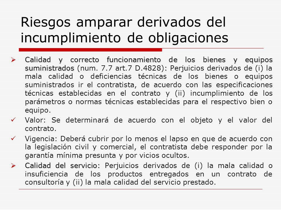 Riesgos amparar derivados del incumplimiento de obligaciones Calidad y correcto funcionamiento de los bienes y equipos suministrados: Calidad y correc