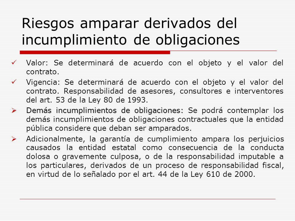 Riesgos amparar derivados del incumplimiento de obligaciones Valor: Se determinará de acuerdo con el objeto y el valor del contrato. Vigencia: Se dete