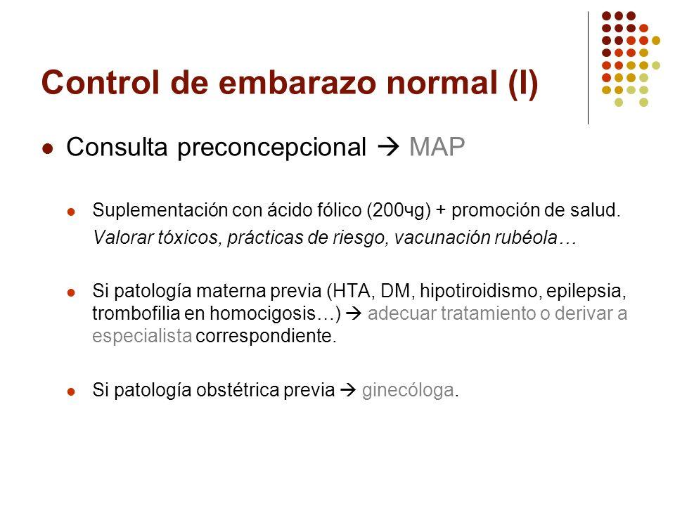 Control de embarazo normal (I) Consulta preconcepcional MAP Suplementación con ácido fólico (200чg) + promoción de salud. Valorar tóxicos, prácticas d
