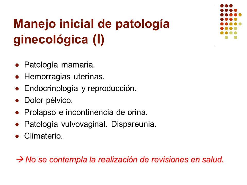 Manejo inicial de patología ginecológica (I) Patología mamaria. Hemorragias uterinas. Endocrinología y reproducción. Dolor pélvico. Prolapso e inconti