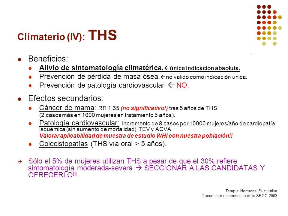 Climaterio (IV): THS Beneficios: Alivio de sintomatología climatérica. única indicación absoluta. Prevención de pérdida de masa ósea. no válido como i