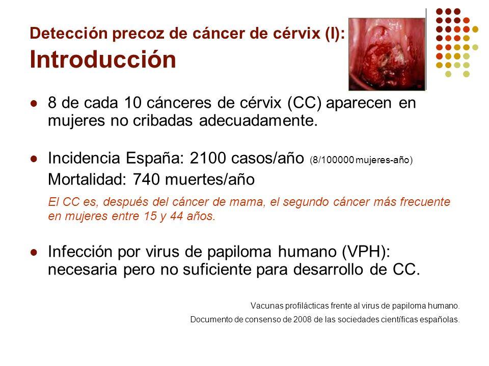 Detección precoz de cáncer de cérvix (I): Introducción 8 de cada 10 cánceres de cérvix (CC) aparecen en mujeres no cribadas adecuadamente. Incidencia