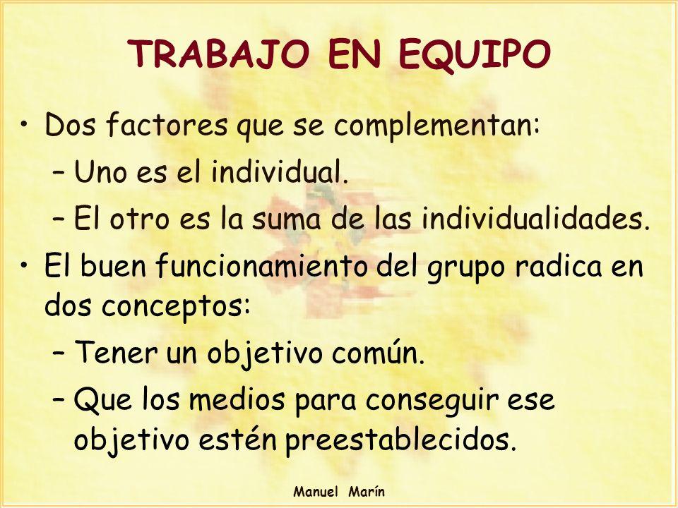 Manuel Marín TRABAJO EN EQUIPO Dos factores que se complementan: –Uno es el individual. –El otro es la suma de las individualidades. El buen funcionam