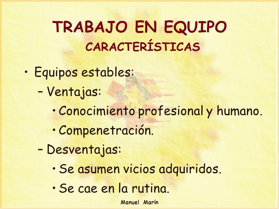 Manuel Marín Equipos estables: –Ventajas: Conocimiento profesional y humano. Compenetración. –Desventajas: Se asumen vicios adquiridos. Se cae en la r