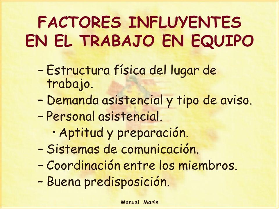 Manuel Marín FACTORES INFLUYENTES EN EL TRABAJO EN EQUIPO –Estructura física del lugar de trabajo. –Demanda asistencial y tipo de aviso. –Personal asi