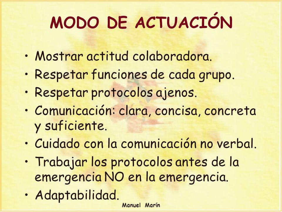 Manuel Marín MODO DE ACTUACIÓN Mostrar actitud colaboradora. Respetar funciones de cada grupo. Respetar protocolos ajenos. Comunicación: clara, concis