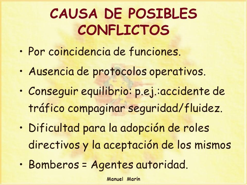 Manuel Marín CAUSA DE POSIBLES CONFLICTOS Por coincidencia de funciones. Ausencia de protocolos operativos. Conseguir equilibrio: p.ej.:accidente de t