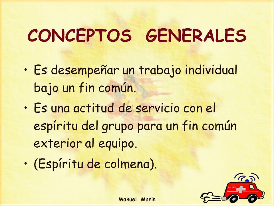 Manuel Marín CONCEPTOS GENERALES Es desempeñar un trabajo individual bajo un fin común. Es una actitud de servicio con el espíritu del grupo para un f