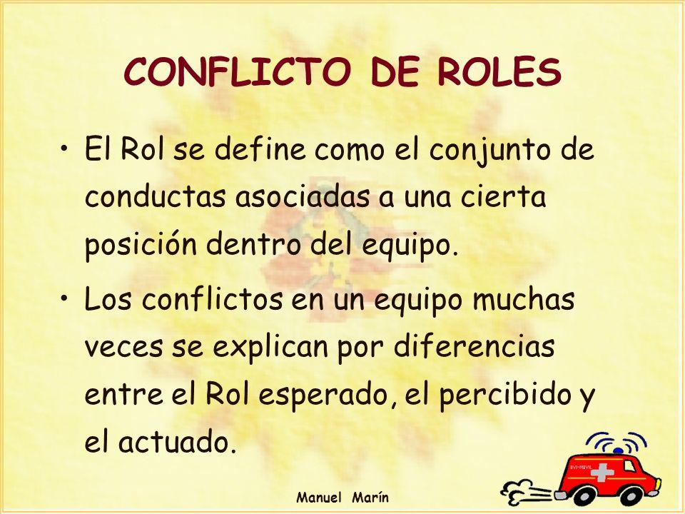 Manuel Marín CONFLICTO DE ROLES El Rol se define como el conjunto de conductas asociadas a una cierta posición dentro del equipo. Los conflictos en un