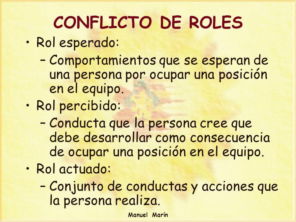Manuel Marín CONFLICTO DE ROLES Rol esperado: –Comportamientos que se esperan de una persona por ocupar una posición en el equipo. Rol percibido: –Con