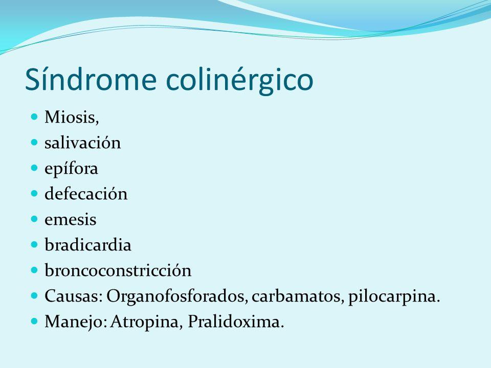 Síndrome colinérgico Miosis, salivación epífora defecación emesis bradicardia broncoconstricción Causas: Organofosforados, carbamatos, pilocarpina. Ma