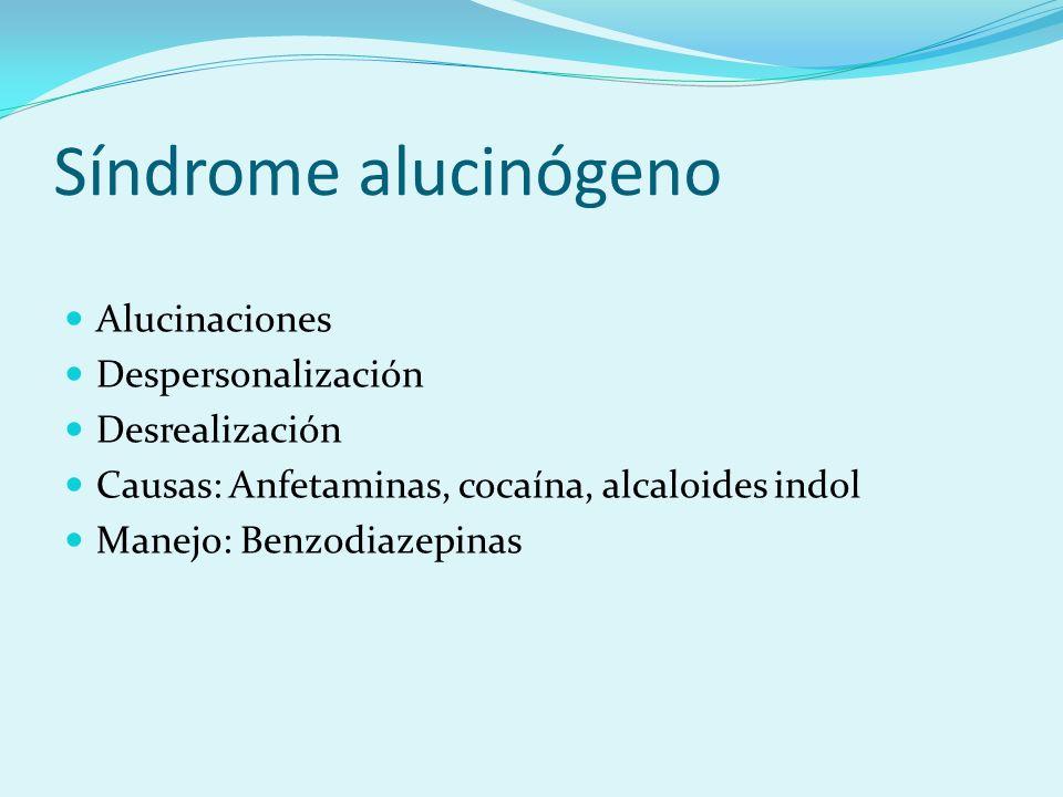 Síndrome alucinógeno Alucinaciones Despersonalización Desrealización Causas: Anfetaminas, cocaína, alcaloides indol Manejo: Benzodiazepinas
