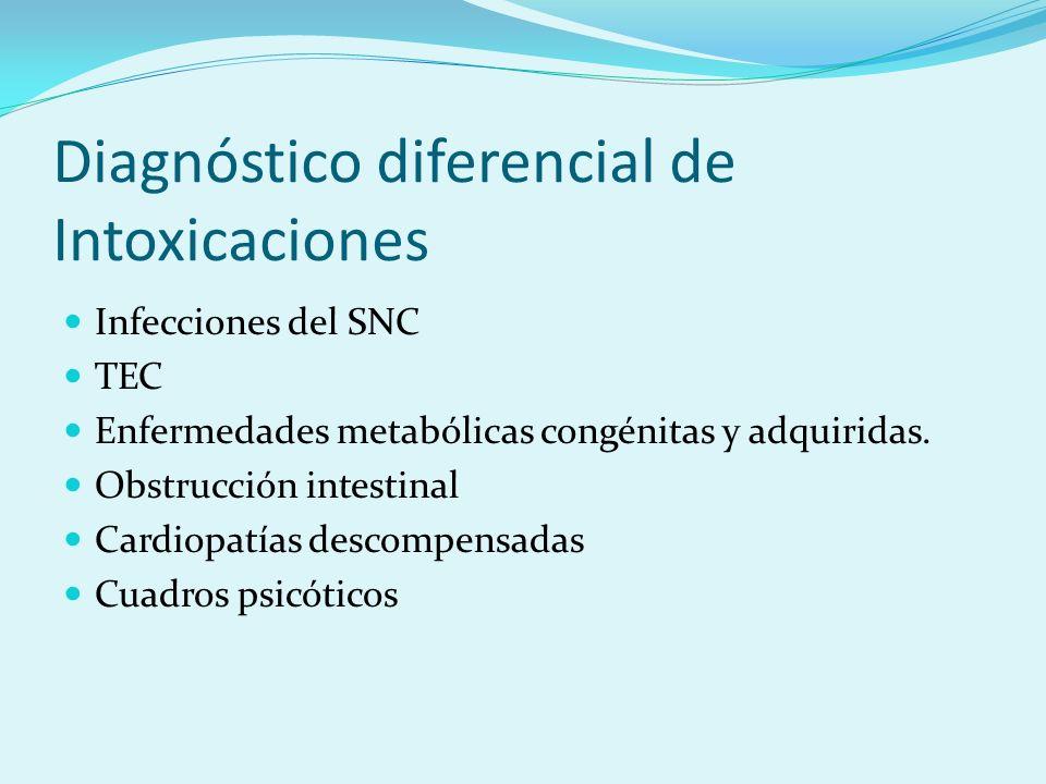 Diagnóstico diferencial de Intoxicaciones Infecciones del SNC TEC Enfermedades metabólicas congénitas y adquiridas. Obstrucción intestinal Cardiopatía
