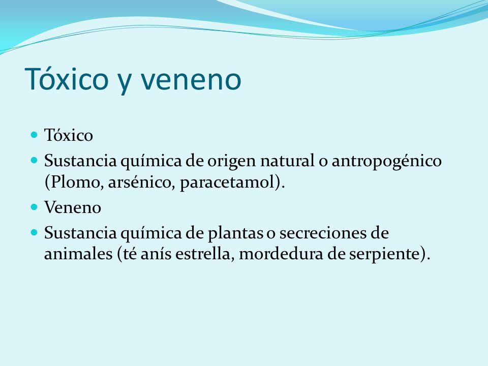 Tóxico y veneno Tóxico Sustancia química de origen natural o antropogénico (Plomo, arsénico, paracetamol). Veneno Sustancia química de plantas o secre