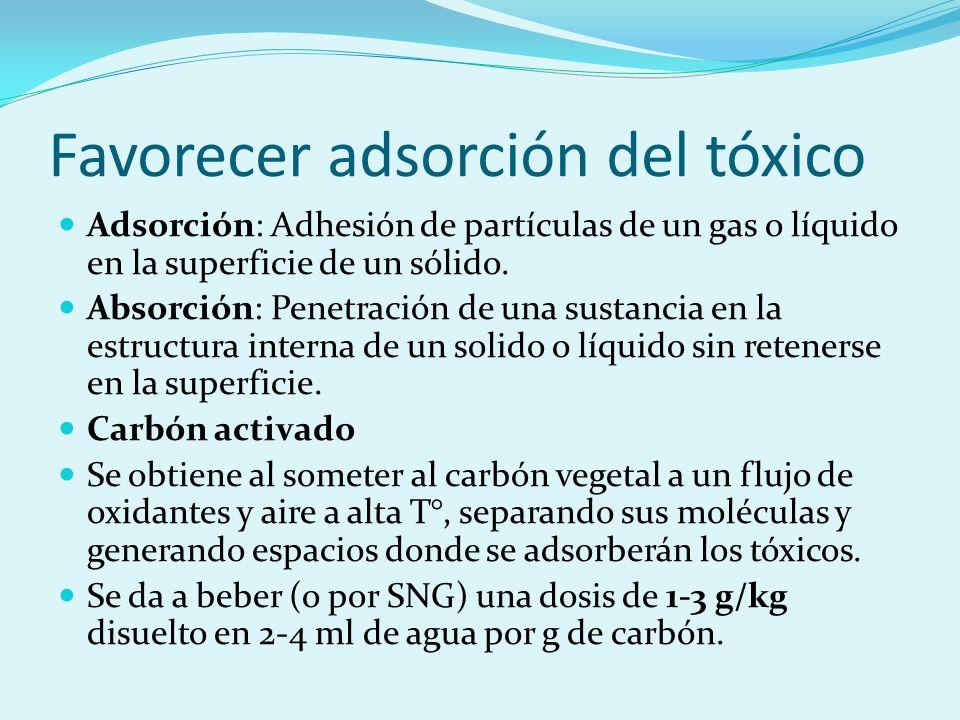 Favorecer adsorción del tóxico Adsorción: Adhesión de partículas de un gas o líquido en la superficie de un sólido. Absorción: Penetración de una sust
