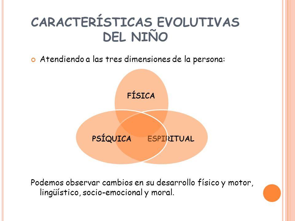 CARACTERÍSTICAS EVOLUTIVAS DEL NIÑO Atendiendo a las tres dimensiones de la persona: Podemos observar cambios en su desarrollo físico y motor, lingüís