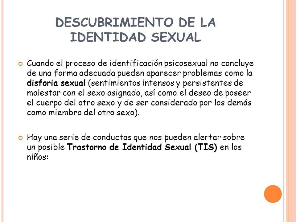 DESCUBRIMIENTO DE LA IDENTIDAD SEXUAL Cuando el proceso de identificación psicosexual no concluye de una forma adecuada pueden aparecer problemas como