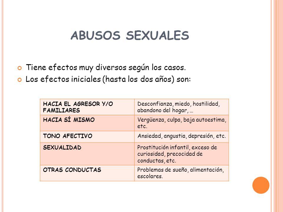 ABUSOS SEXUALES Tiene efectos muy diversos según los casos. Los efectos iniciales (hasta los dos años) son: HACIA EL AGRESOR Y/O FAMILIARES Desconfian