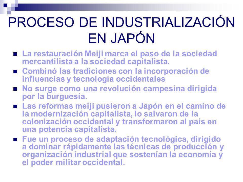 PROCESO DE INDUSTRIALIZACIÓN EN JAPÓN La restauración Meiji marca el paso de la sociedad mercantilista a la sociedad capitalista. Combinó las tradicio