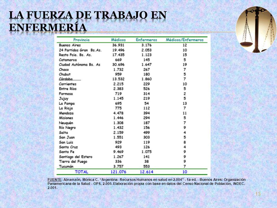 13 FUENTE: Abramzón, Mónica C. Argentina: Recursos Humanos en salud en 2.004 - 1a ed. - Buenos Aires: Organización Panamericana de la Salud - OPS, 2.0