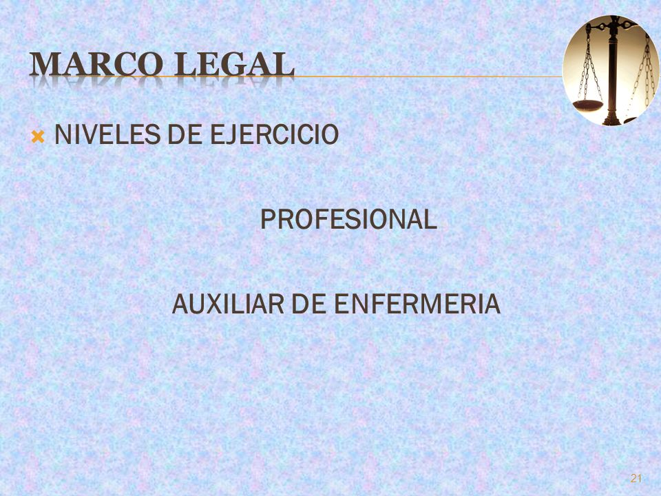 NIVELES DE EJERCICIO PROFESIONAL AUXILIAR DE ENFERMERIA 21