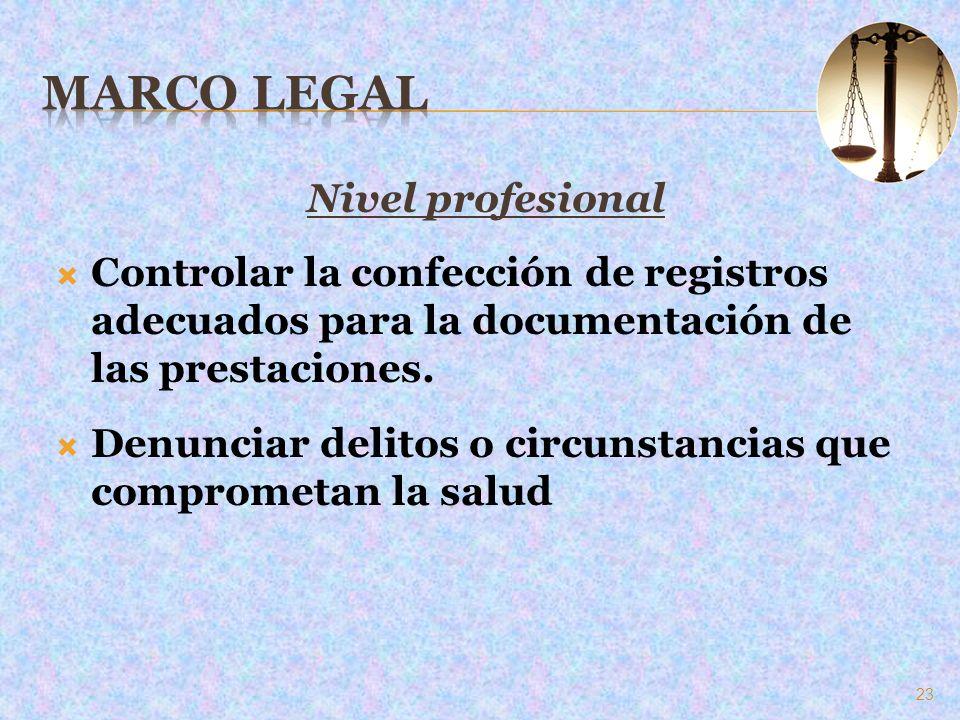 Nivel profesional Controlar la confección de registros adecuados para la documentación de las prestaciones. Denunciar delitos o circunstancias que com