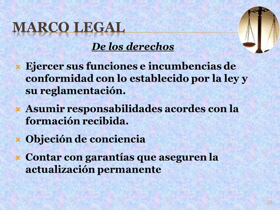 De los derechos Ejercer sus funciones e incumbencias de conformidad con lo establecido por la ley y su reglamentación. Asumir responsabilidades acorde