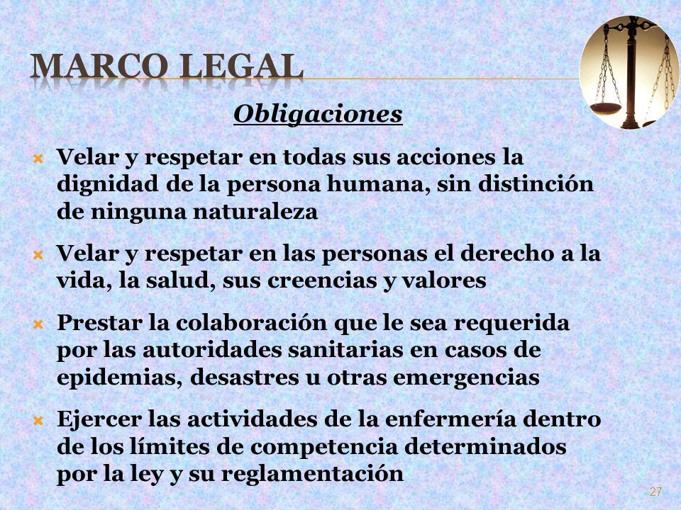 Obligaciones Velar y respetar en todas sus acciones la dignidad de la persona humana, sin distinción de ninguna naturaleza Velar y respetar en las per