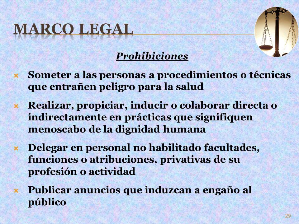 Prohibiciones Someter a las personas a procedimientos o técnicas que entrañen peligro para la salud Realizar, propiciar, inducir o colaborar directa o