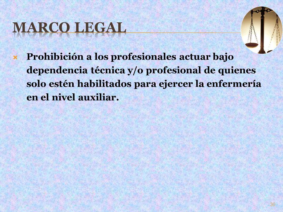 Prohibición a los profesionales actuar bajo dependencia técnica y/o profesional de quienes solo estén habilitados para ejercer la enfermería en el niv