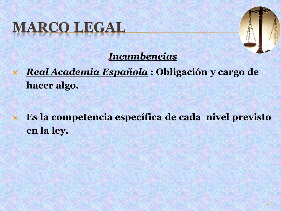 Incumbencias Real Academia Española : Obligación y cargo de hacer algo. Es la competencia específica de cada nivel previsto en la ley. 31