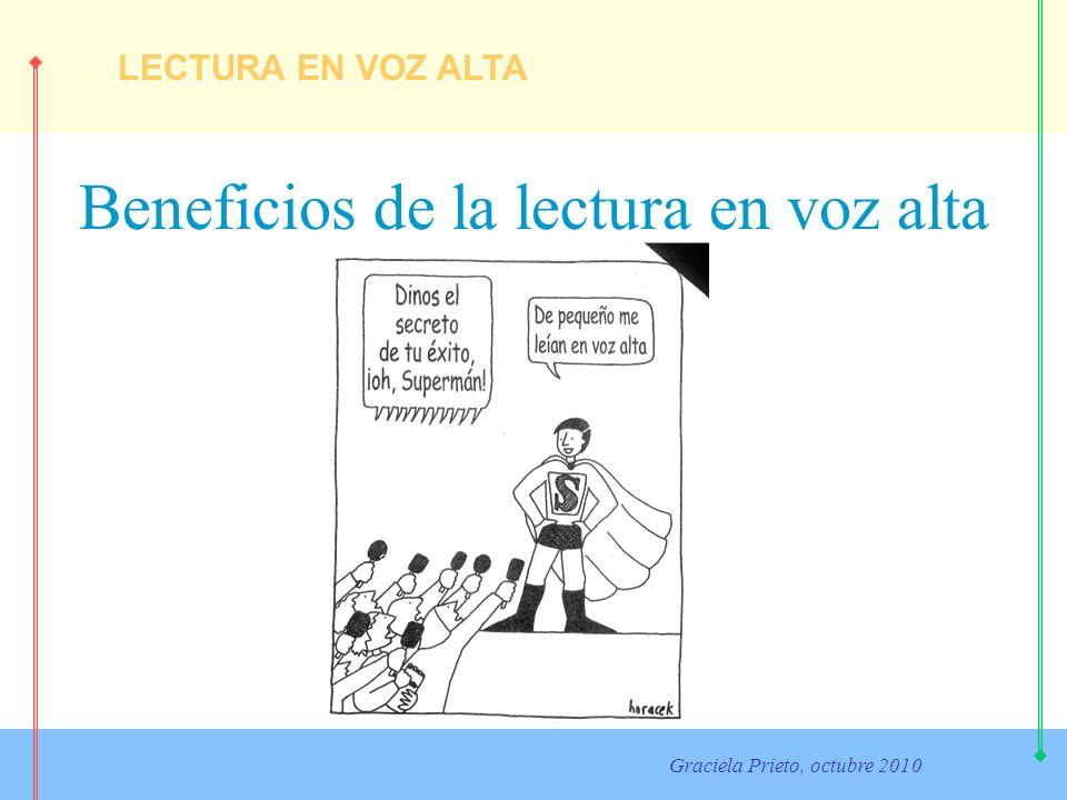 LECTURA EN VOZ ALTA Graciela Prieto, octubre 2010 Beneficios de la lectura en voz alta Leer en voz alta a los niños favorece: La generación y fortalecimiento de vínculos afectivos a través de toda clase de libros.