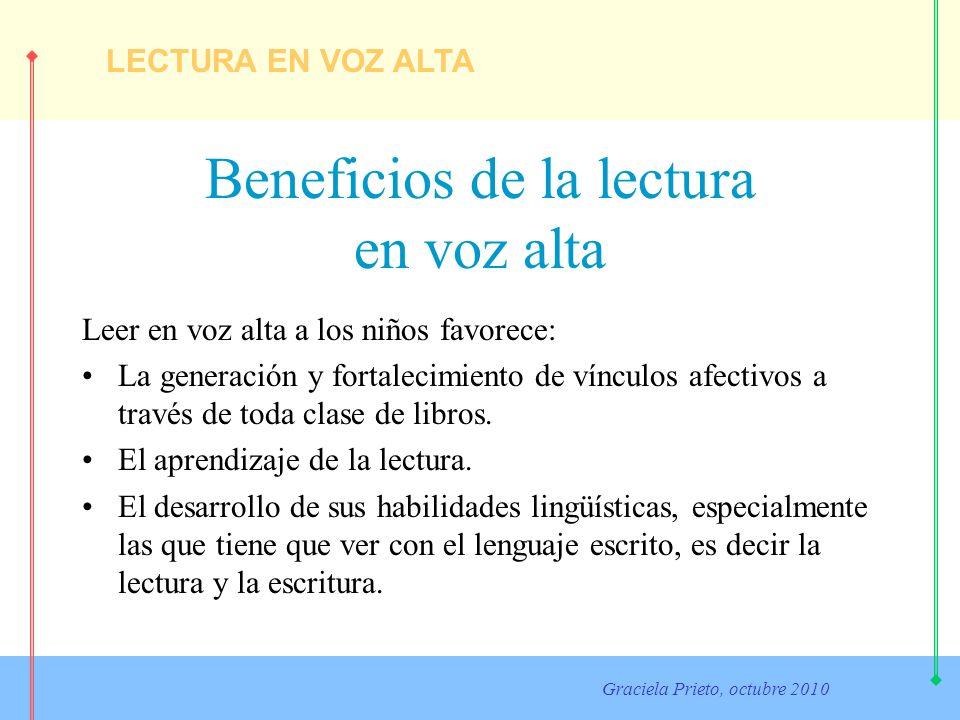 LECTURA EN VOZ ALTA Graciela Prieto, octubre 2010 Beneficios de la lectura en voz alta La lectura de cuentos a los niños tiene incidencia en el desarrollo del vocabulario, la comprensión de conceptos y el conocimiento de cómo funciona el lenguaje escrito y en la motivación para querer leer.