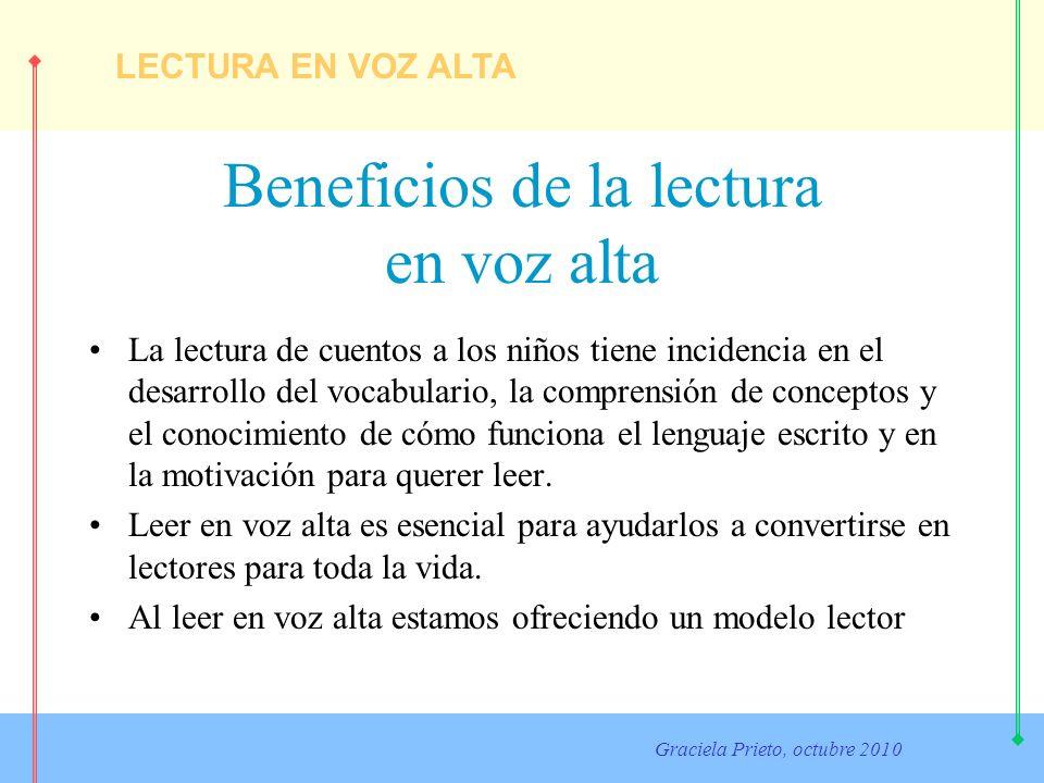 LECTURA EN VOZ ALTA Graciela Prieto, octubre 2010 Cuando seleccione un libro Recuerde: Ese recomendable no elegir libros por su mensaje En el caso de los cuentos clásicos, son mejores las versiones originales que las adaptaciones.