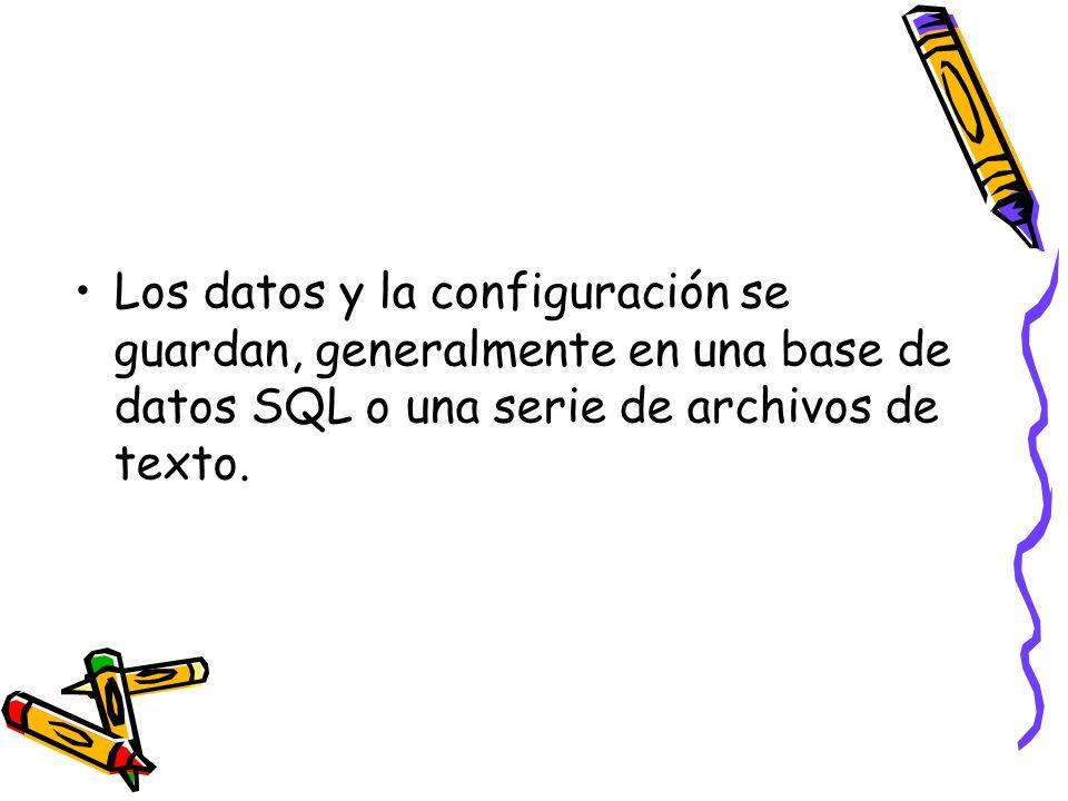 Los datos y la configuración se guardan, generalmente en una base de datos SQL o una serie de archivos de texto.