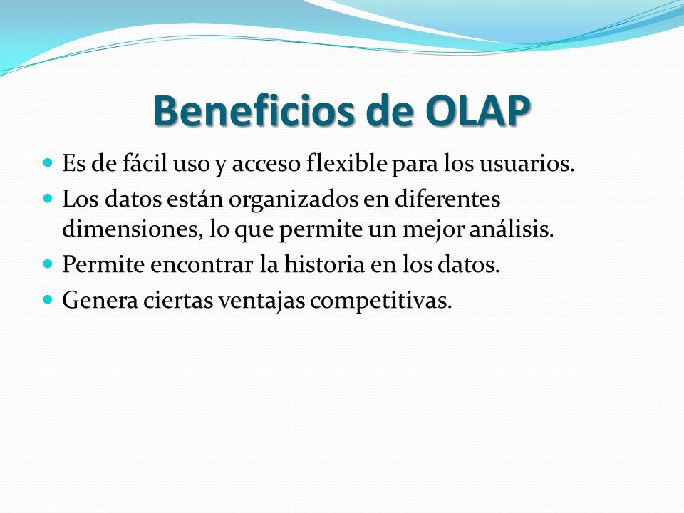 Beneficios de OLAP Es de fácil uso y acceso flexible para los usuarios. Los datos están organizados en diferentes dimensiones, lo que permite un mejor
