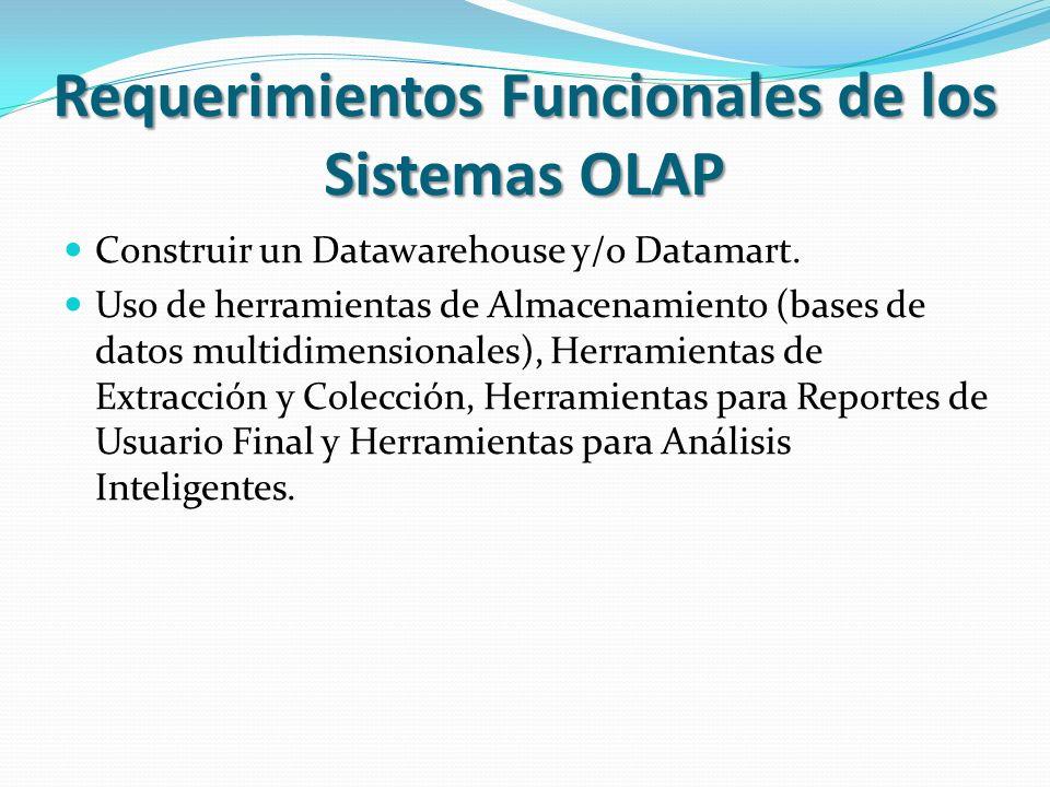 Requerimientos Funcionales de los Sistemas OLAP Construir un Datawarehouse y/o Datamart. Uso de herramientas de Almacenamiento (bases de datos multidi