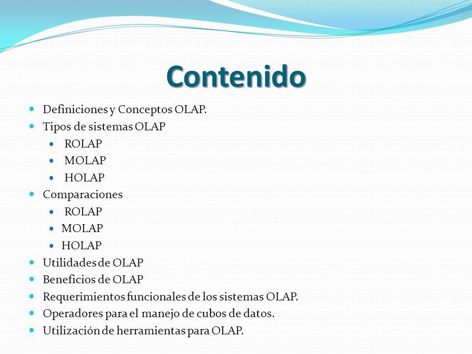 Contenido Definiciones y Conceptos OLAP. Tipos de sistemas OLAP ROLAP MOLAP HOLAP Comparaciones ROLAP MOLAP HOLAP Utilidades de OLAP Beneficios de OLA