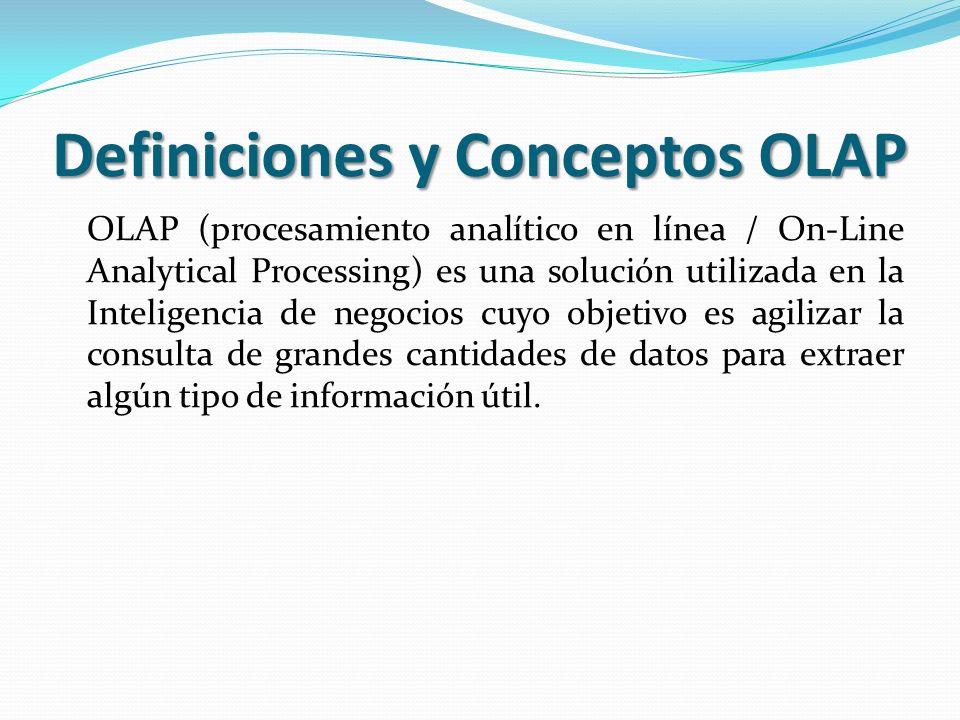 Definiciones y Conceptos OLAP OLAP (procesamiento analítico en línea / On-Line Analytical Processing) es una solución utilizada en la Inteligencia de