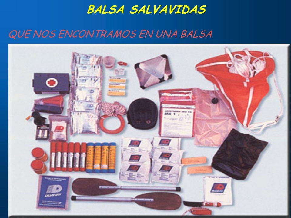 15 BALSA SALVAVIDAS QUE NOS ENCONTRAMOS EN UNA BALSA Guirnaldas y atalejes Válvulas de sobrepresión Grifos de comunicación Luces Material diverso: Man