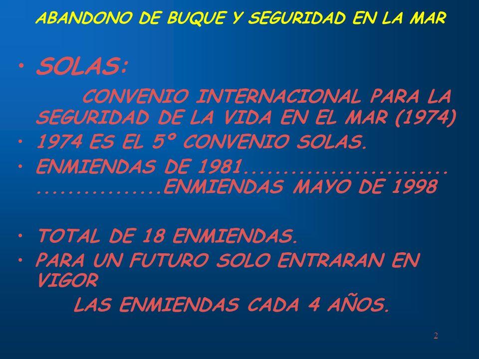 2 ABANDONO DE BUQUE Y SEGURIDAD EN LA MAR SOLAS: CONVENIO INTERNACIONAL PARA LA SEGURIDAD DE LA VIDA EN EL MAR (1974) 1974 ES EL 5º CONVENIO SOLAS. EN