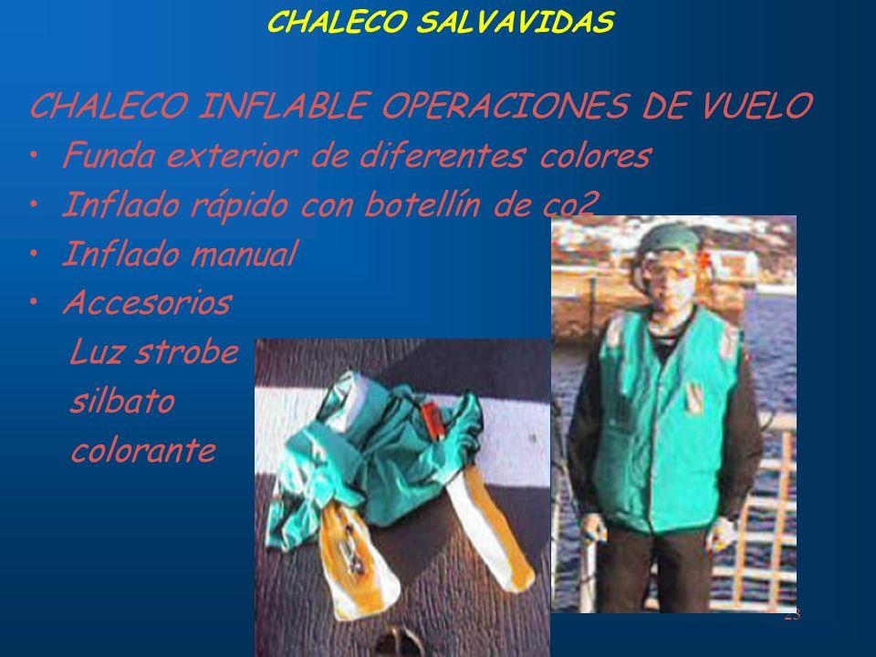 23 CHALECO SALVAVIDAS CHALECO INFLABLE OPERACIONES DE VUELO Funda exterior de diferentes colores Inflado rápido con botellín de co2 Inflado manual Acc