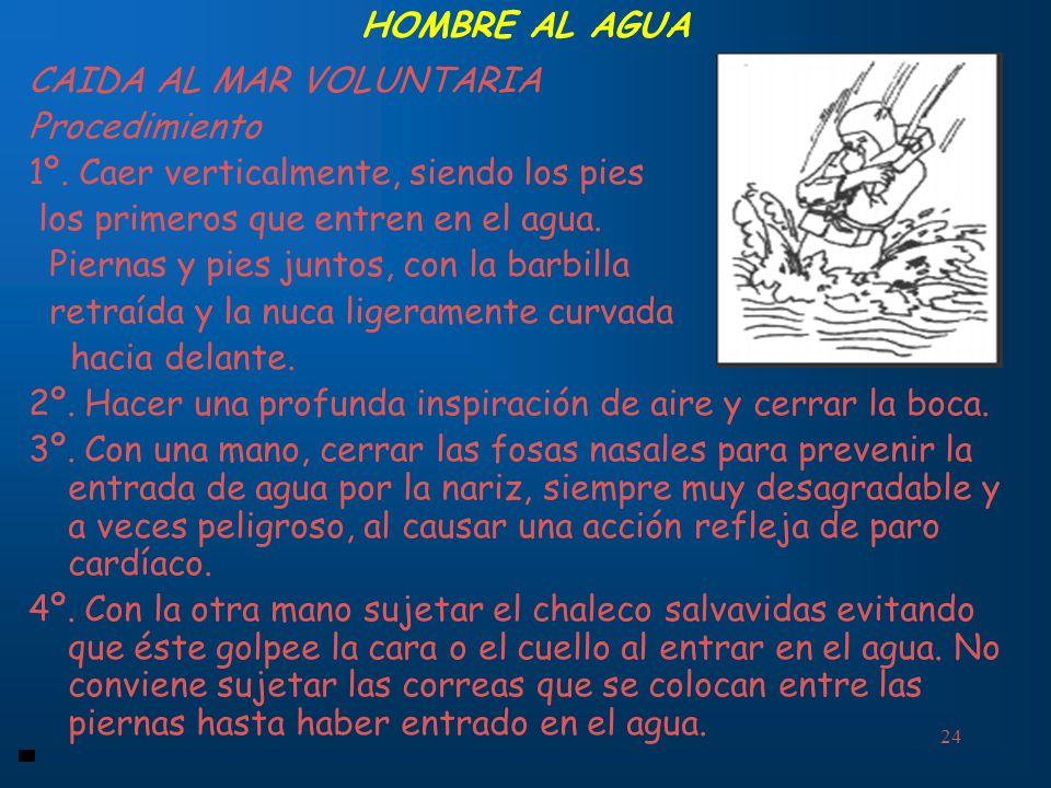 24 HOMBRE AL AGUA CAIDA AL MAR VOLUNTARIA Procedimiento 1º. Caer verticalmente, siendo los pies los primeros que entren en el agua. Piernas y pies jun