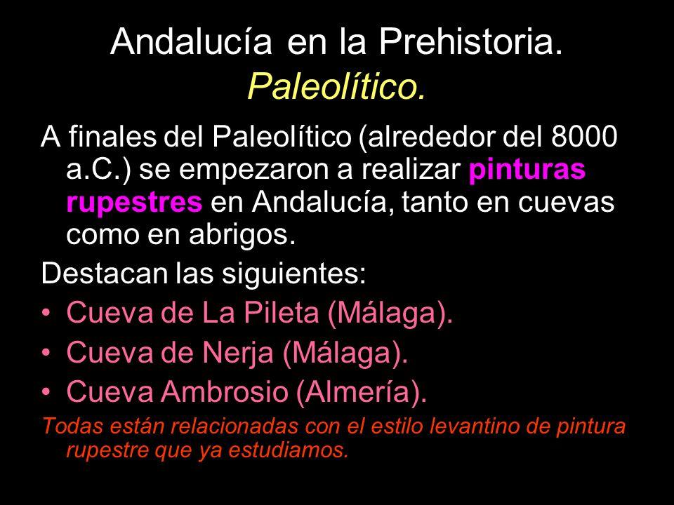 Andalucía en la Prehistoria. Paleolítico. A finales del Paleolítico (alrededor del 8000 a.C.) se empezaron a realizar pinturas rupestres en Andalucía,