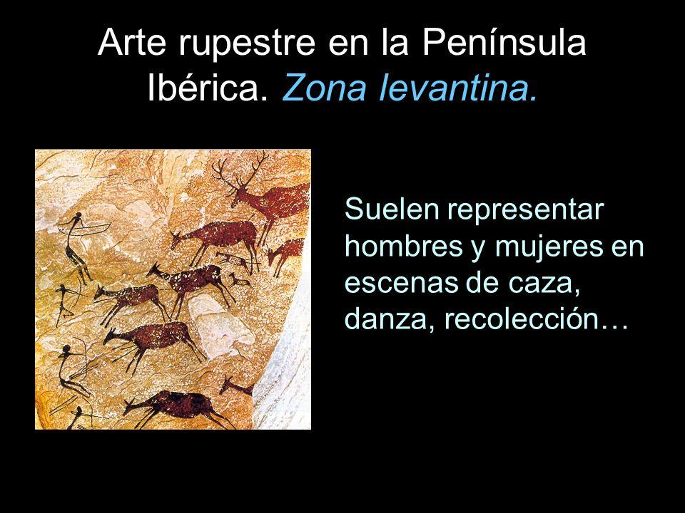 Arte rupestre en la Península Ibérica. Zona levantina. Suelen representar hombres y mujeres en escenas de caza, danza, recolección…