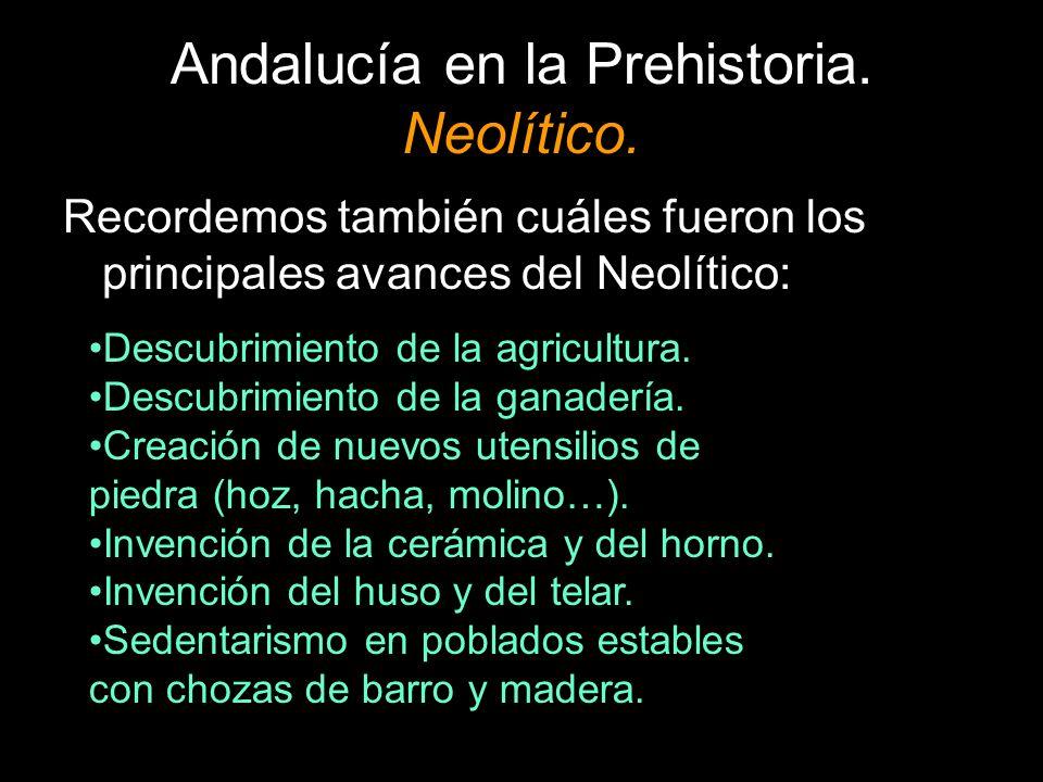 Andalucía en la Prehistoria. Neolítico. Recordemos también cuáles fueron los principales avances del Neolítico: Descubrimiento de la agricultura. Desc